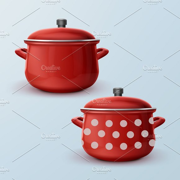 Two Red Enamel Saucepan