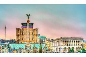 Maidan Nezalezhnosti or Independence Square, the central square of Kiev, Ukraine