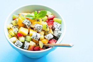Exotic fruit salad in bowl