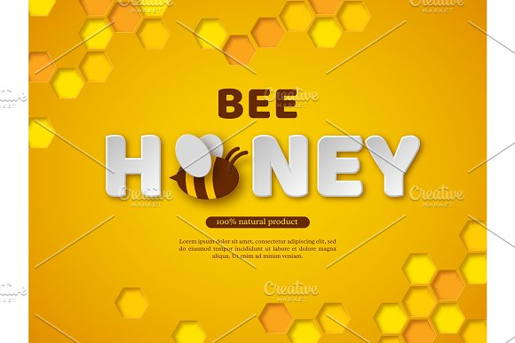 Bee Honey Typographic Design Paper Cut Style Letters Comb And Bee Yellow Background Vector Illustration