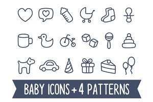 Baby icons and seamless patterns