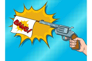Pistol with white flag comic book pop art vector