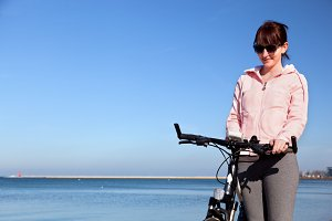 Woman during a bicycle trip
