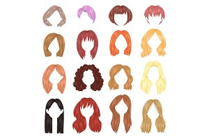 Hairstyle woman vector female haircut on short or long hair and wigs illustration hairdressing or haircutting with coloration isolated on white background