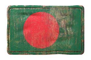 Bangladesh flag rusty plate
