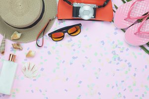 Top view summer accessories travel.