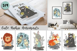 Cute Illustrated Boho Animals