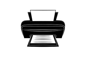 Printer icon vector black on white