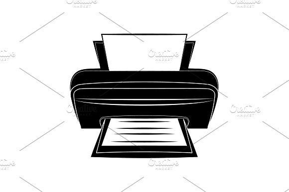 Printer Icon Vector Black On White
