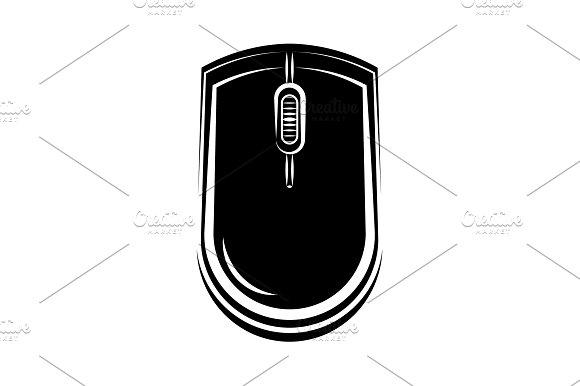 Computer Mouse Icon Black On White