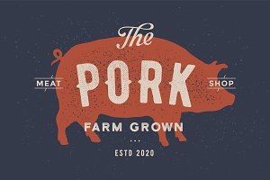 Pig, pork. Poster for Butchery