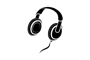 Headphones icon vector black