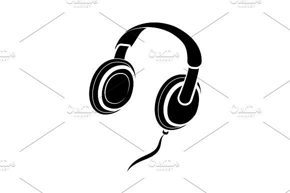 Headphones Icon Vector Black