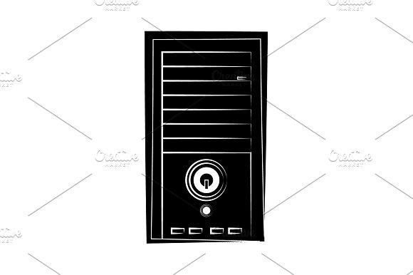 System Unit Icon Black On White