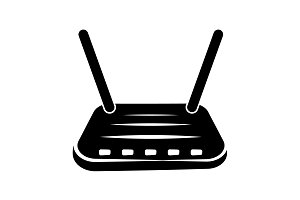 Wi-Fi router icon black on white