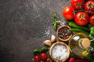 Food background - spices, herbs and vegetables.