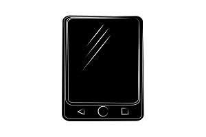 Tablet icon vector black on white