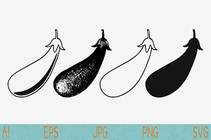 eggplant set vector svg png eps