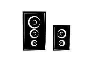 Loudspeakers icon, audio music sign
