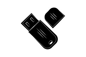 Flash drive icon black on white
