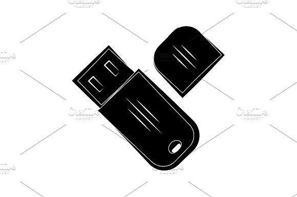 Flash Drive Icon Black On White