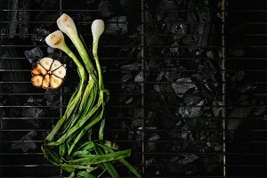 Grilled vegetables on charcoal