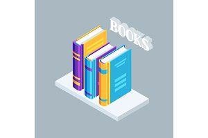 Isometric icon book on bookshelf.