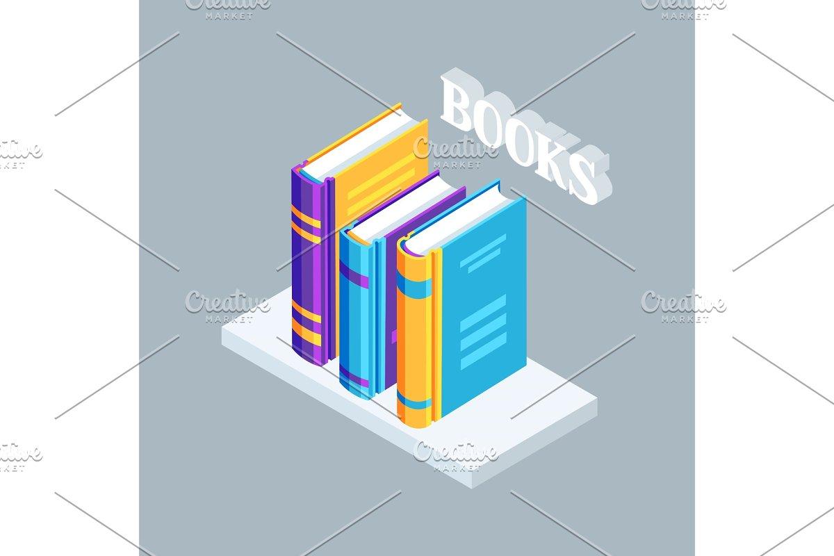 Isometric icon book on bookshelf.