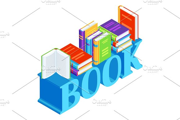 Isometric Word With Books