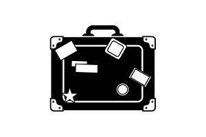 Travel bag icon. Suitcase icon black