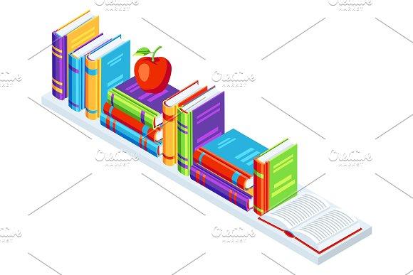 Isometric books on bookshelf.