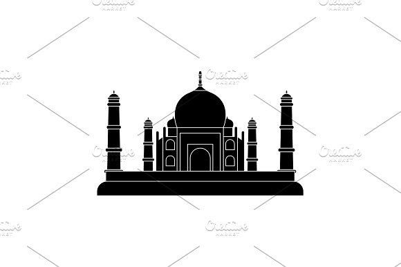 Taj Mahal Icon Black On White