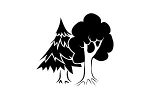 Mixed forest icon black on white