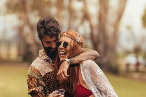 Hippie couple having fun