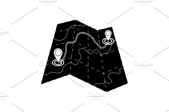 Map Icon Vector Black On White