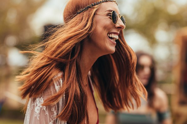 People Stock Photos: Jacob Lund Photography - Laughing woman in retro look