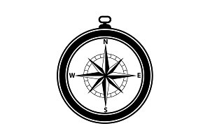 Compass icon vector black on white
