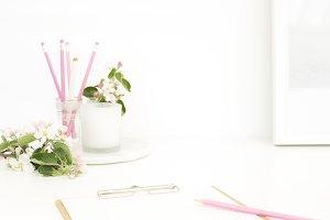 Styled stock photo- pink desktop