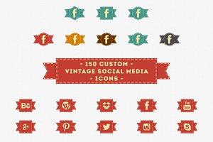 150 Vintage Social Media Icons