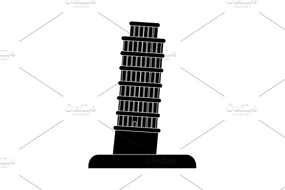 Leaning Tower Of Pisa Icon Black