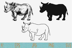 Rhinoceros set vector svg png eps