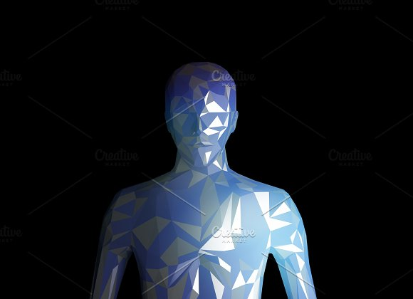 Human Model On Black Background In Technology Concept Artificial Intelligence 3D Illustration