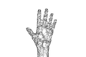 Human hand isolated on white background with connection lines and dots in futuristic technology concept. 3d illustration