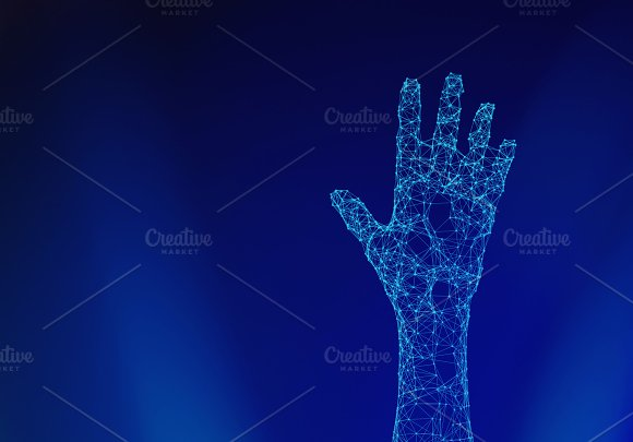 Human Hand Isolated On Blue Background With Connection Lines And Dots In Futuristic Technology Concept 3D Illustration
