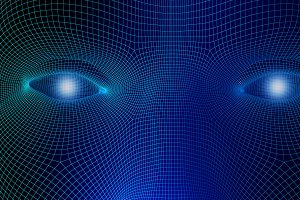 Human eyes on blue background in technology concept, wireframe of artificial intelligence. 3d illustration
