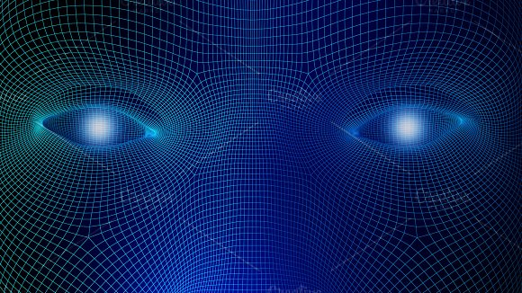 Human Eyes On Blue Background In Technology Concept Wireframe Of Artificial Intelligence 3D Illustration
