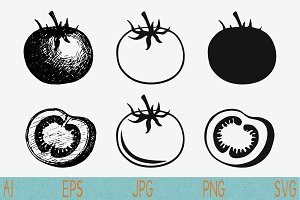 Whole,half tomato set vector svg png