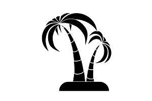 Palm trees icon black on white