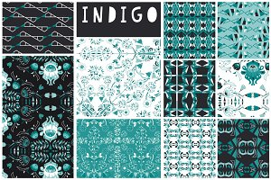 Indigo Seamless Vector Patterns x 10