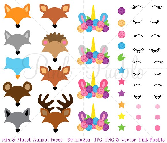 Mix And Match Animal Face Clipart